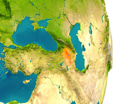 armenian: Armenia highlighted in red on planet Earth. 3D illustration with detailed planet surface. Stock Photo