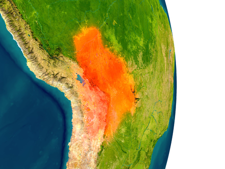 map bolivia: Bolivia highlighted in red on planet Earth. 3D illustration with detailed planet surface. Foto de archivo