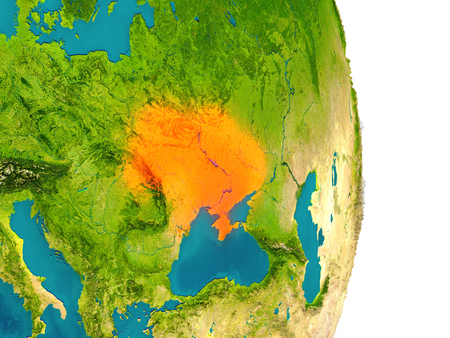 Ukraine highlighted in red on planet Earth. 3D illustration with detailed planet surface.