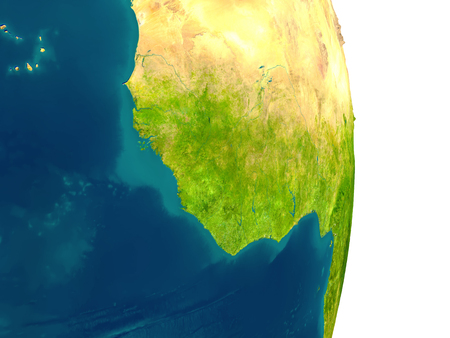 Guinea highlighted in red on planet Earth. 3D illustration with detailed planet surface.