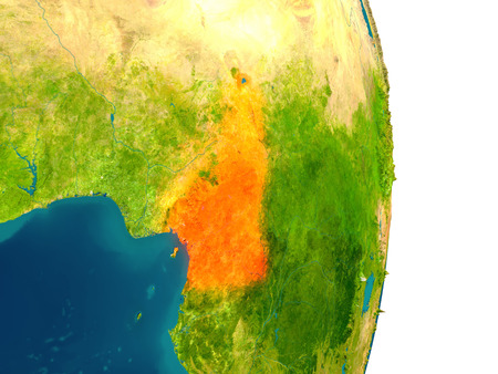 Cameroon highlighted in red on planet Earth. 3D illustration with detailed planet surface.