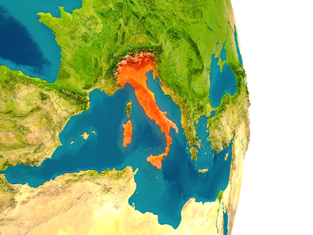 Italy highlighted in red on planet Earth. 3D illustration with detailed planet surface.