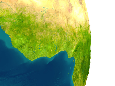 Ghana highlighted in red on planet Earth. 3D illustration with detailed planet surface.