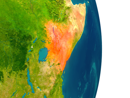 Kenya highlighted in red on planet Earth. 3D illustration with detailed planet surface.