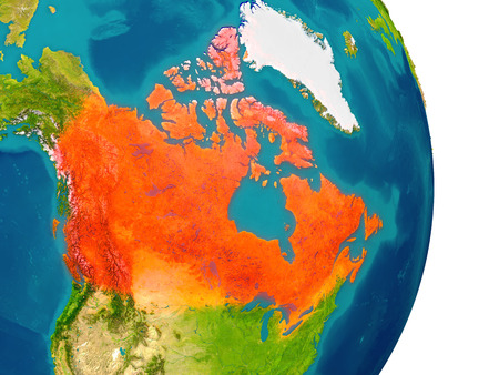 Canada highlighted in red on planet Earth. 3D illustration with detailed planet surface.