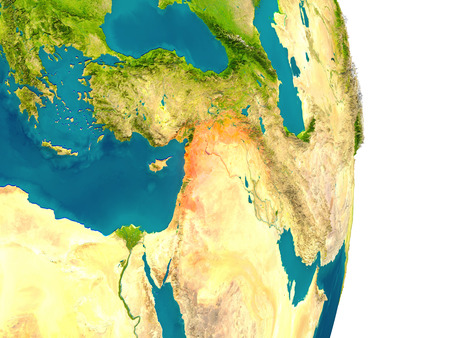 Syria highlighted in red on planet Earth. 3D illustration with detailed planet surface.