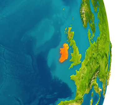 irish map: Ireland highlighted in red on planet Earth. 3D illustration with detailed planet surface.