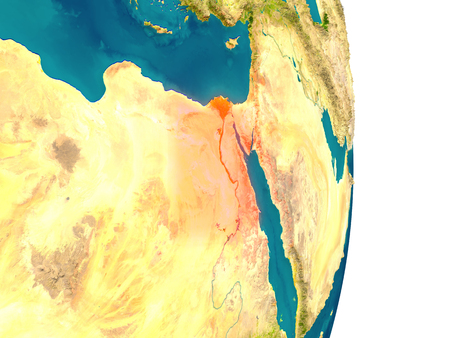 Egypt highlighted in red on planet Earth. 3D illustration with detailed planet surface.
