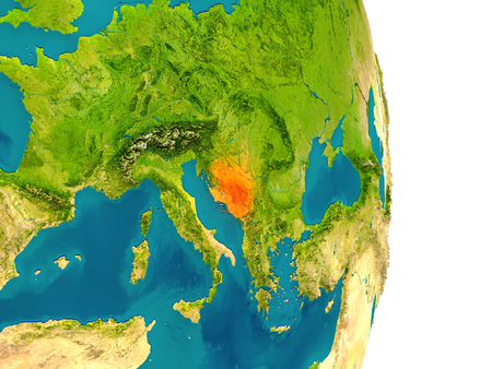 Bosnia highlighted in red on planet Earth. 3D illustration with detailed planet surface. Stock Photo