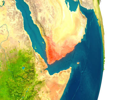 Yemen highlighted in red on planet Earth. 3D illustration with detailed planet surface.