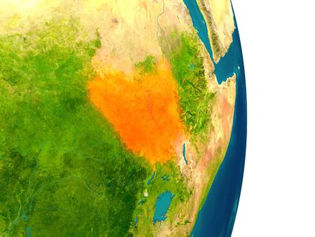 South Sudan은 지구상의 적색으로 강조 표시됩니다. 자세한 행성 표면 3D 그림입니다.