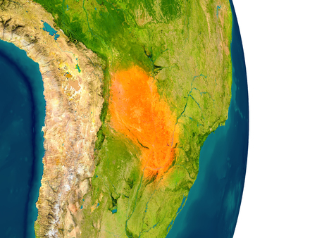 Paraguay highlighted in red on planet Earth. 3D illustration with detailed planet surface. Stock Photo