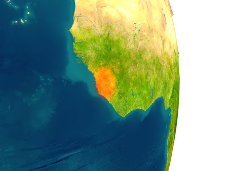Sierra Leone highlighted in red on planet Earth. 3D illustration with detailed planet surface.