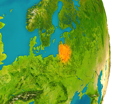 Lithuania highlighted in red on planet Earth. 3D illustration with detailed planet surface.