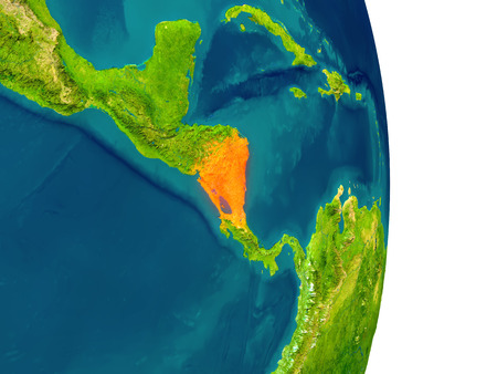 nicaragua: Nicaragua highlighted in red on planet Earth. 3D illustration with detailed planet surface. Stock Photo