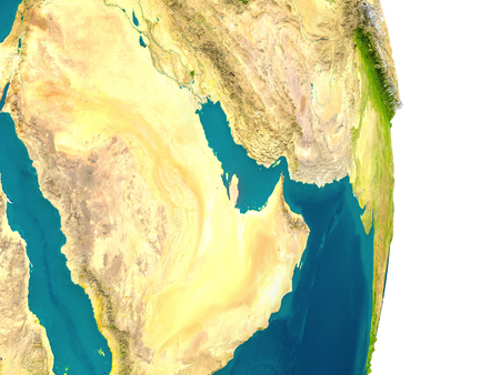Qatar highlighted in red on planet Earth. 3D illustration with detailed planet surface. Stock Photo