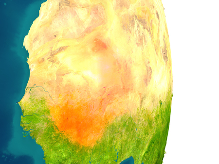Mali highlighted in red on planet Earth. 3D illustration with detailed planet surface.