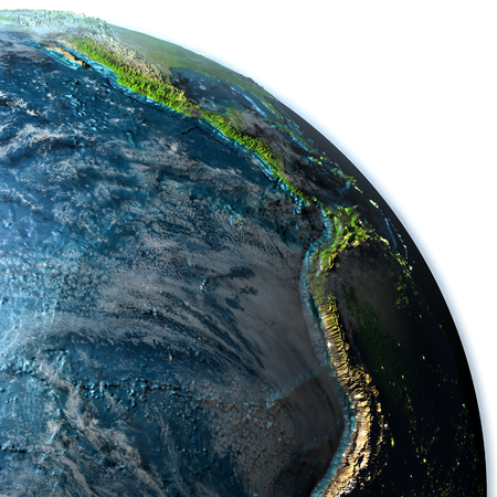 Eastern Pacific on planet Earth with evening light. 3D illustration with detailed planet surface, atmosphere and city lights. Elements of this image furnished by NASA. Stock Photo