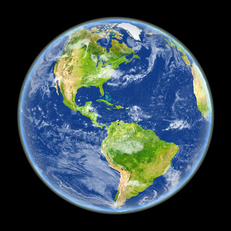 Satellite view of Americas on planet Earth. 3D illustration with detailed planet surface. Elements of this image furnished by NASA. Stock Photo