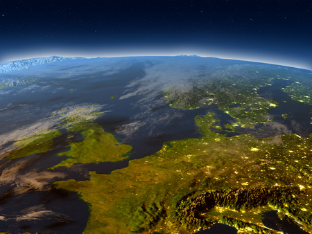 manche: Western Europe in the evening from Earths orbit in space. 3D illustration with detailed planet surface and city lights. Elements of this image furnished by NASA.