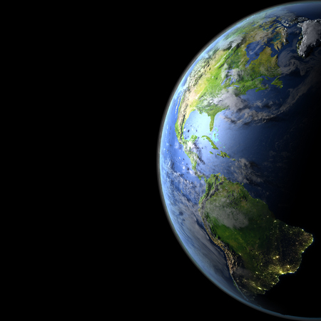 Americas from Earths orbit. 3D illustration with detailed planet surface, atmosphere and city lights. Elements of this image furnished by NASA.