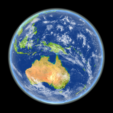 Satellite view of Australia on planet Earth. 3D illustration with detailed planet surface. Elements of this image furnished by NASA. Stock Photo