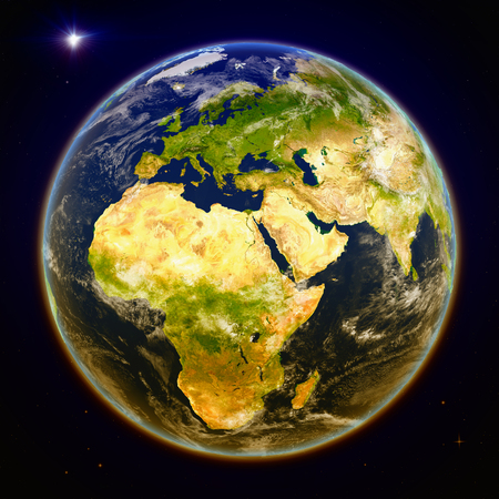 EMEA region from space. 3D illustration with detailed planet surface. Elements of this image furnished by NASA.