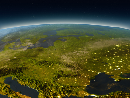 Eastern Europe in the evening from Earths orbit in space. 3D illustration with detailed planet surface and city lights. Elements of this image furnished by NASA. Stock Photo