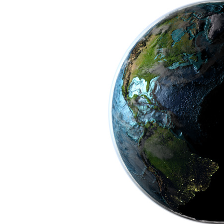 americas: Americas on planet Earth with evening light. 3D illustration with detailed planet surface, atmosphere and city lights. Elements of this image furnished by NASA.