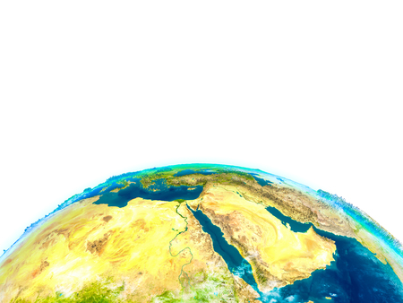 Middle East on physical model of Earth. 3D illustration with detailed planet surface. Elements of this image furnished by NASA.