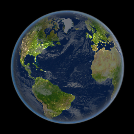 Satellite view of Northern Hemisphere during night with visible city lights. 3D illustration. Elements of this image furnished by NASA.