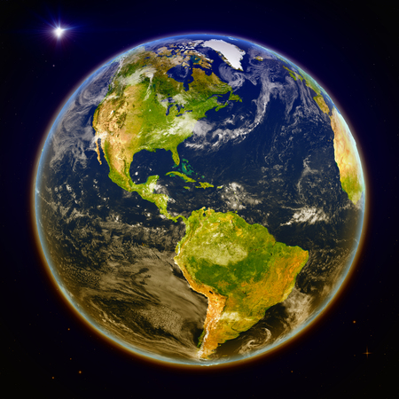 Americas from space. 3D illustration with detailed planet surface. Elements of this image furnished by NASA. Stock Photo