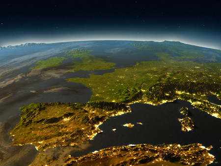 Iberia in the evening from Earths orbit in space. 3D illustration with detailed planet surface and city lights. Elements of this image furnished by NASA. Reklamní fotografie