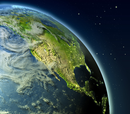 detailed image: North America from Earths orbit. 3D illustration with detailed planet surface, atmosphere and city lights. Elements of this image furnished by NASA. Stock Photo