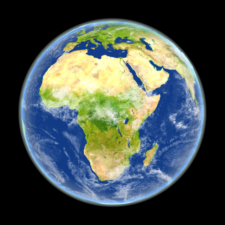 Satellite view of Africa on planet Earth. 3D illustration with detailed planet surface. Elements of this image furnished by NASA. Stock Photo