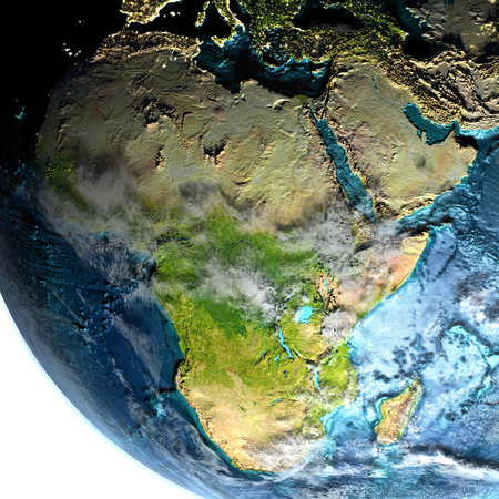 continente africano: Africa on model of planet Earth at dawn. 3D illustration with white background. Elements of this image furnished by NASA. Foto de archivo