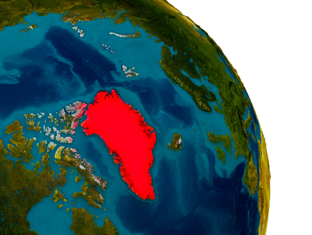 Greenland highlighted in red on detailed model of planet Earth. 3D illustration.