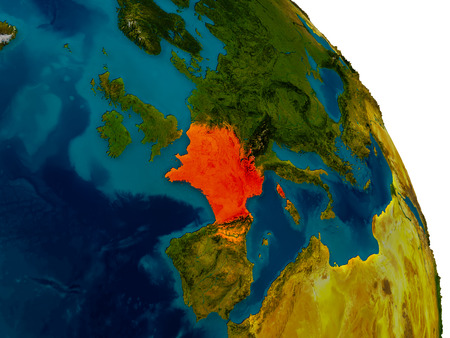physical geography: France highlighted in red on detailed model of planet Earth. 3D illustration.