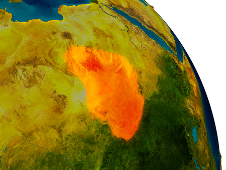Chad highlighted in red on detailed model of planet Earth. 3D illustration.