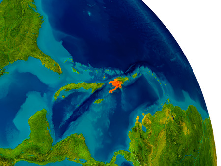 Haiti highlighted in red on detailed model of planet Earth. 3D illustration.