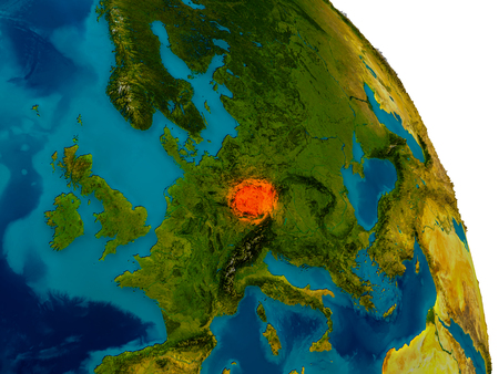 Czech republic highlighted in red on detailed model of planet Earth. 3D illustration.