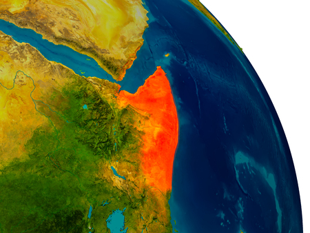 Somalia highlighted in red on detailed model of planet Earth. 3D illustration Stock Photo