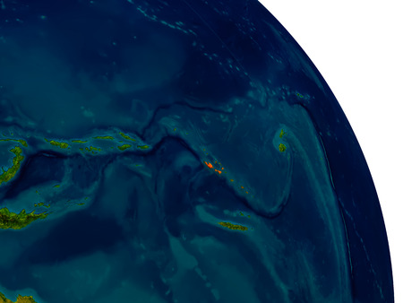 Vanuatu highlighted in red on detailed model of planet Earth. 3D illustration. Stock Photo