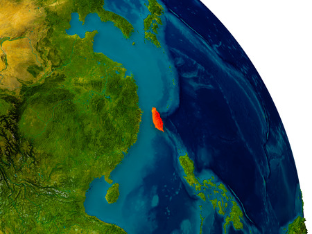 Taiwan highlighted in red on detailed model of planet Earth. 3D illustration.