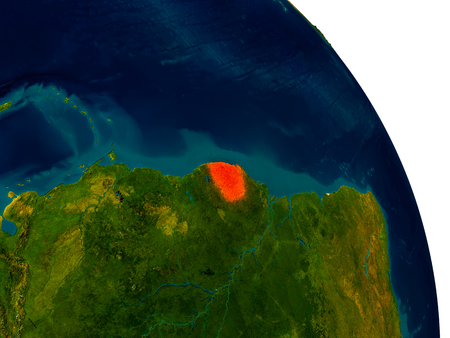 French Guiana highlighted in red on detailed model of planet Earth. 3D illustration.
