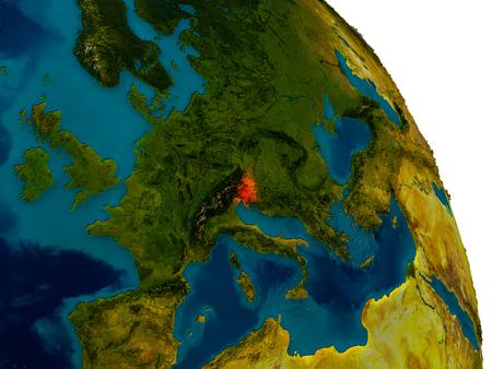 Slovenië in het rood gemarkeerd op gedetailleerd model van de planeet aarde. 3D illustratie. Stockfoto