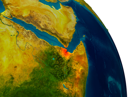 djibouti: Djibouti highlighted in red on detailed model of planet Earth. 3D illustration. Stock Photo