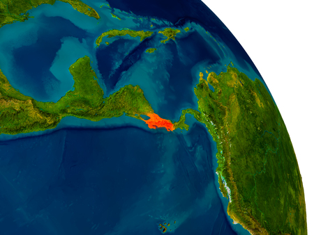 Costa Rica highlighted in red on detailed model of planet Earth. 3D illustration.