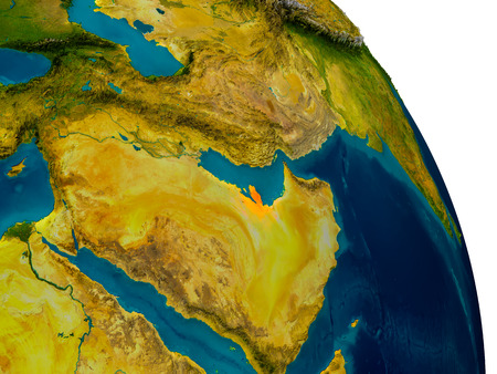 Qatar highlighted in red on detailed model of planet Earth. 3D illustration.