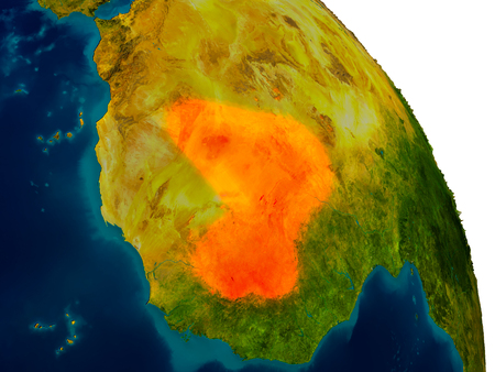 Mali highlighted in red on detailed model of planet Earth. 3D illustration.
